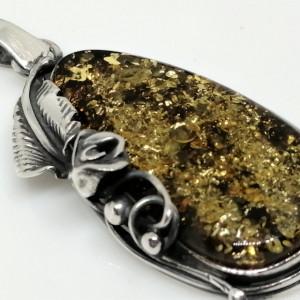 Pandantiv masiv din argint si chihlimbar - P2887-2