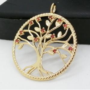 Pandantiv tree of life-argint placat cu aur galben -ARBORELE VIETII- VP016412 granat
