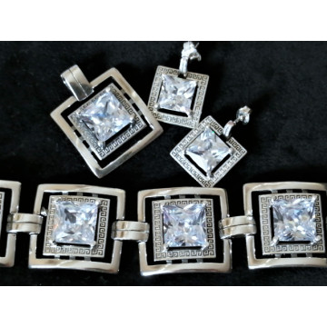 Set cercei si pandantiv argint zircon -P2958-E2959
