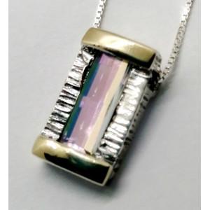 Colier argint si aur 14k quartz -curcubeu- cod 410153