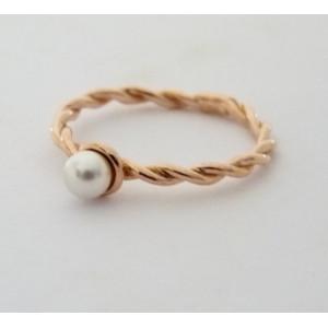 Inel argint placat cu aur roz- perla -ANJJ3910PLROS