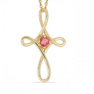 AMARILLO-Cruciulita argint placat cu aur -VP029701 pink topaz