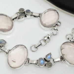 Bratara argint cuart roz- B68
