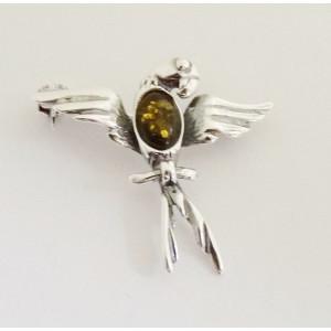 Brosa argint chihlimbar verde -BRO469