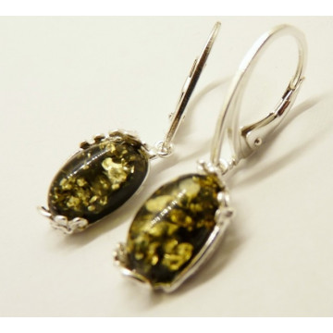 Cercei argint Chihlimbar VERDE -E2932