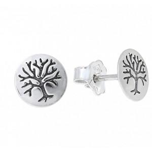 Cercei argint cu surub E3507 arborele vietii