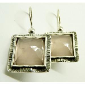 Cercei argint E2873 cuart roz
