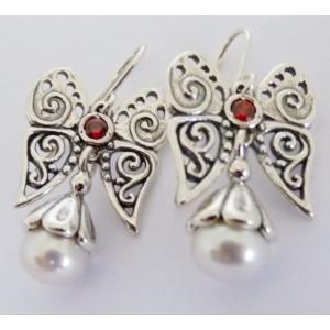Cercei argint granat si perla E2296-1481