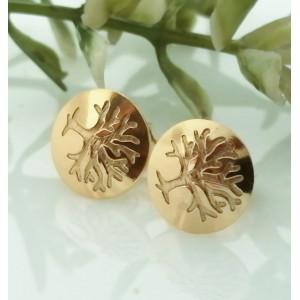 Cercei argint placati cu aur galben E3507 arborele vietii