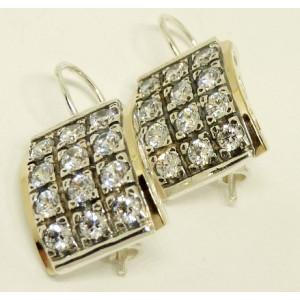 Cercei argint si aur 14 k E600 zircon