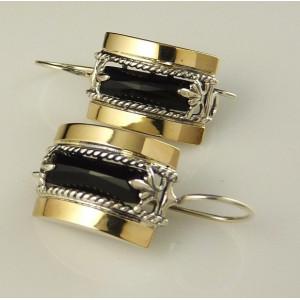 Cercei argint si aur 9 k -30053 onix