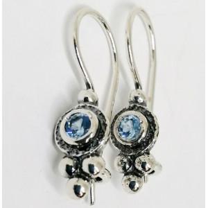 Cercei delicati din argint -blue topaz E2821