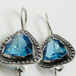 Cercei din argint -blue topaz E2758