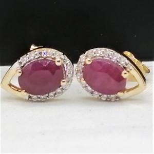 Cercei ELEONORE-argint placat cu aur - VE032670 rubin