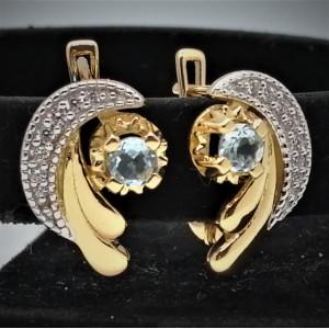 Cercei LOLA -argint placat cu aur si topaz