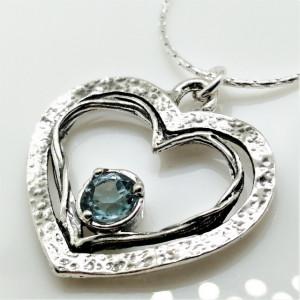 Colier argint inima N2852 topaz