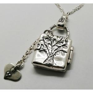 Colier  din argint patinat - stil caseta - Arborele Vietii  - N2957