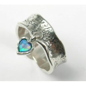 Inel argint cu piatra opal, inimioara - R3890