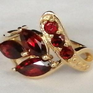 Inel argint placat cu aur galben-granat-VR023241