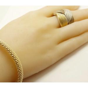Inel -argint si argint placat cu aur galben si roz - ANAN0412RT