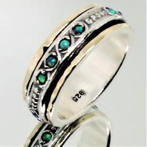 Inel argint si aur 14k, opal nobil -R4787