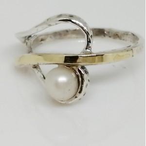Inel argint si aur 14k perla -102029