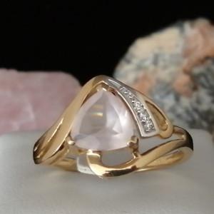Inel Tessa -argint placat si aur - VR032984-cuart roz