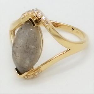 Lorient-inel argint placat cu aur galben -VR015575 labradorit