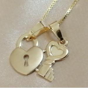 Pandantiv -argint placat cu aur galben-CNST0364AG-Cheie si Lacat