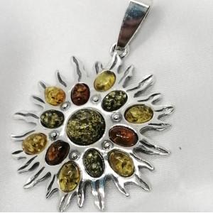 Pandantiv din argint si chihlimbar P397-C
