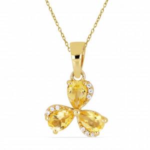 Pandantiv Iasmina-argint placat cu aur galben - VP013772 citrin