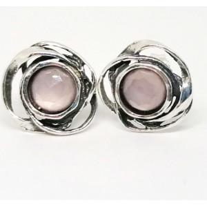 Cercei surub din argint - E7150-Cuart roz