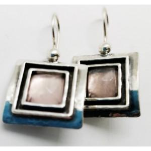 Cercei argint  E1847-cuart roz
