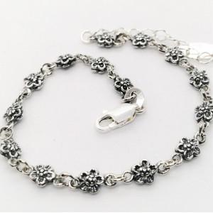 Bratara delicata din argint cu flori -E1914