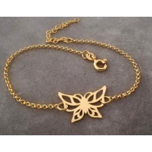 Bratara delicată din argint placata cu aur -B3621-Fluture