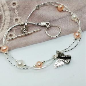Bratara din argint cu perle de cultura B6475-Fluture