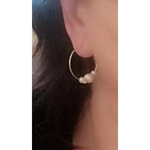 Cercei argint creole -cu perle ET95