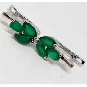 Cercei argint cu piatra onix verde -VE017274