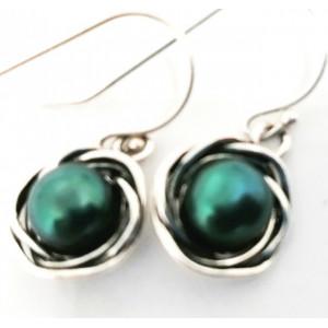 Cercei argint -perla verde smarald E7264