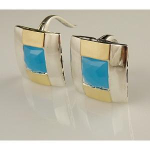 Cercei argint si aur 9 k -30126 blue ocean quartz