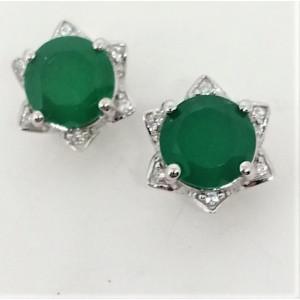 Cercei delicati din argint cu surub VE015767-onix verde