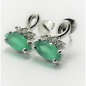 Cercei din argint cu surub VE010751 onix verde