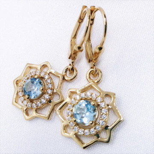 Cercei FELI -argint placat cu aur si topaz VE020850
