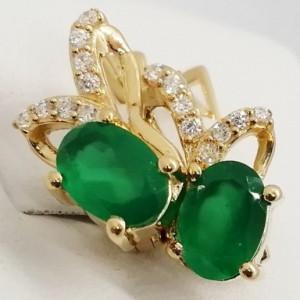 Cercei Floressa -argint placat cu aur si onix verde VE033213