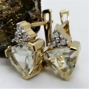 Cercei Sophie -argint placat cu aur si ametist verde VE014552