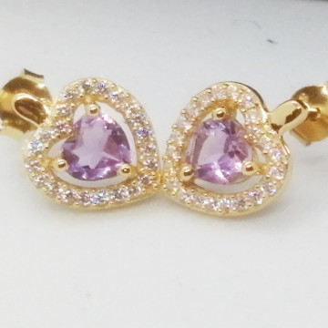 Cercei Valencia-argint placat cu aur -VE07539 pink ametist