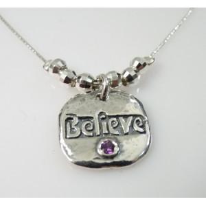 "Colier argint "" BELIEVE "" N2935"