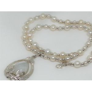 Colier argint cu sirag perla si pandantiv sidef - NW7225-1