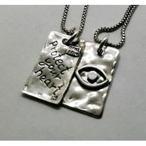 Colier argint față-spate - <Protect your hart >si Ochiul lui Horus -N4356