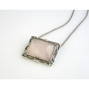 Colier  argint piatra masiva cuart roz- N840